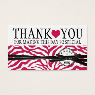 Cute Pink Heart and Zebra Sweet 16 Thank You Business Card