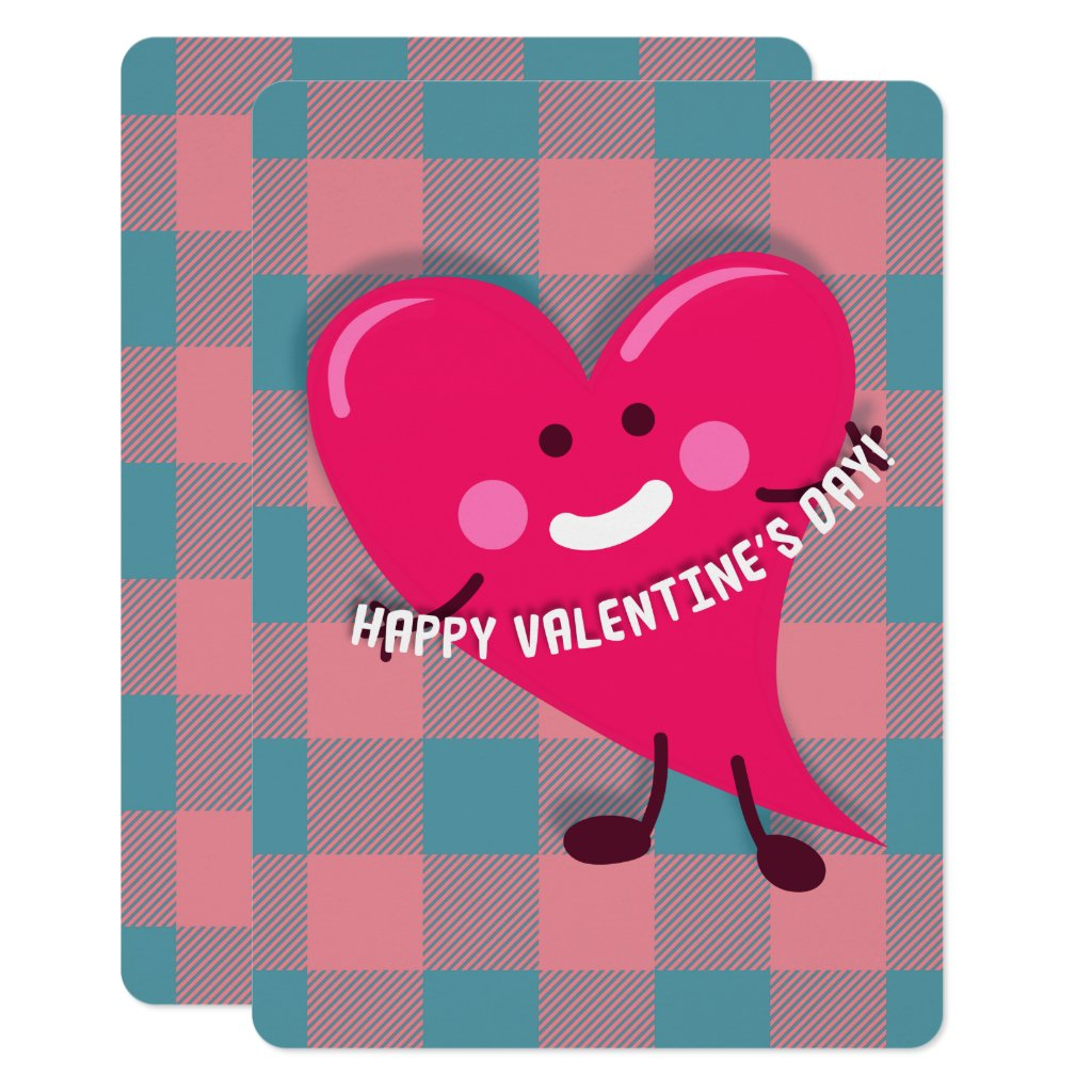 Cute Pink Heart Character Valentine's Day Card