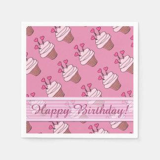 Cute Pink Heart Cupcakes Birthday Napkins