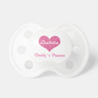 Cute Pink Heart Daddy`s Princess Personalized Name Pacifier