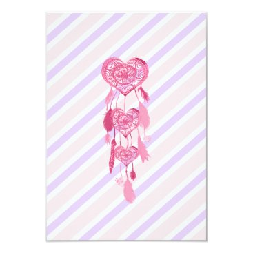 Aztec Themed Cute Pink Heart Dreamcatcher Girly Pastel Stripes Card