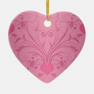 Cute Pink Heart Floral Design Ceramic Ornament