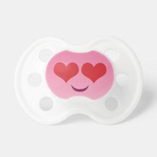 Cute pink heart for eyes emoji pacifier