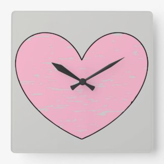 Pink Heart on Silver Square Wall Clock