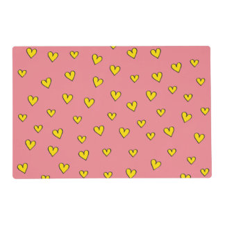 Cute Pink Heart Pattern Placemat