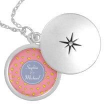 "Cute Pink Heart Pattern ""You & Me"" Customizable Silver Plated Necklace"