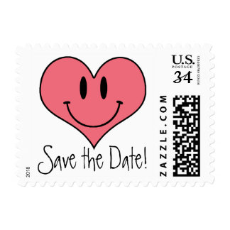 Cute Pink Heart Smilie Save the Date! Postage Stamp