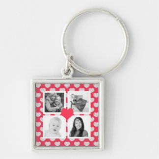 Cute Pink Hearts 4 Instagram Photos Collage Silver-Colored Square Keychain