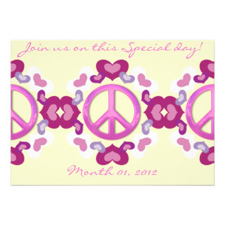 Cute Pink Hearts and Peace Sign Invitations