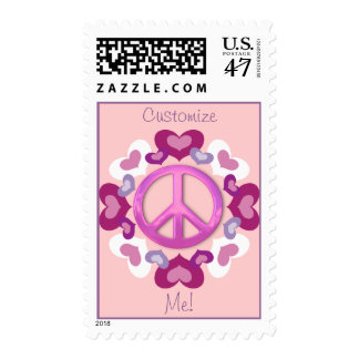 Cute Pink Hearts and Peace Sign Stamps