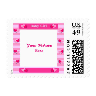 Cute Pink Hearts Baby Shower Picture Frame Stamp
