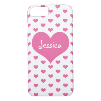 Cute Pink Hearts Girly Name iPhone 7 Case