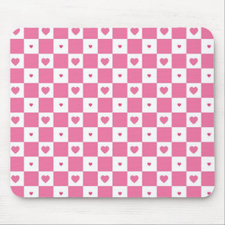 Cute Pink Hearts Girly Pink White Checker Pattern Mouse Pad