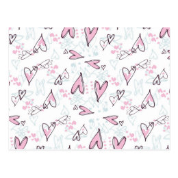 Cute Pink Hearts Love Valentine's Day Design Postcard