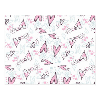 Cute Pink Hearts Love Valentine's Day Design Post Cards
