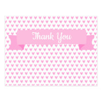 Cute Pink Hearts Pattern | Baby Shower Thank You Postcard