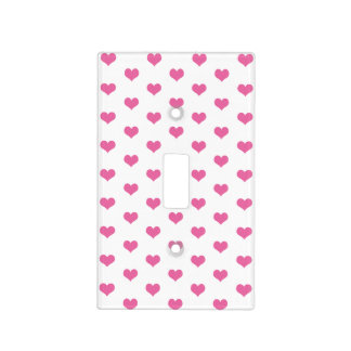 Cute Pink Hearts Pattern Girly Light Switch Cover