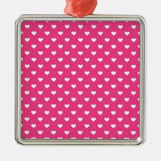 Cute Pink Hearts Pattern Metal Ornament