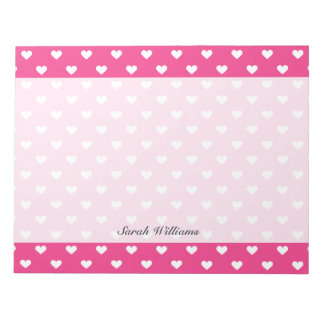 Cute Pink Hearts Pattern Notepad