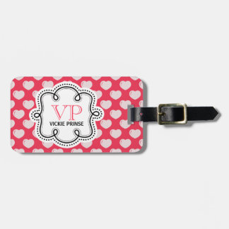 Cute Pink  Hearts Personalized Girly Luggage Tags