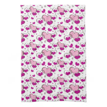 cute pink hearts towels