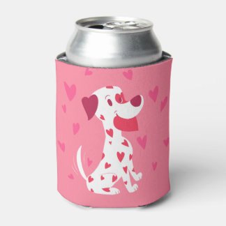 Cute Pink Hearts Valentine Dalmatian Can Cooler
