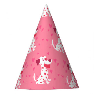 Cute Pink Hearts Valentine Dalmatian Party Hat