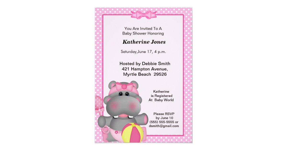 Cute Pink Hippo Baby Shower Invitation Zazzle Com