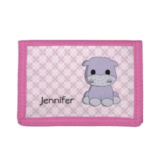 Cute pink hippo cartoon name girls wallet