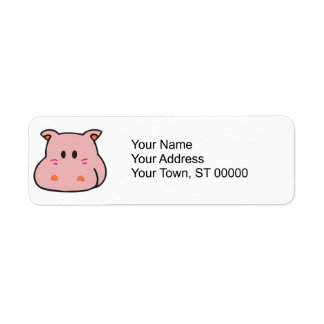 cute pink hippo face label