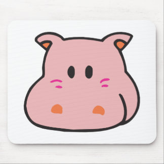 cute pink hippo face mouse pad