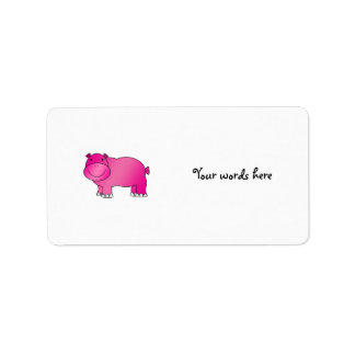 Cute pink hippo label