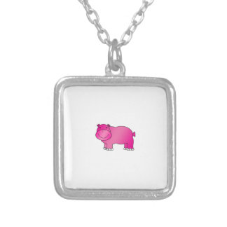 Cute pink hippo square pendant necklace