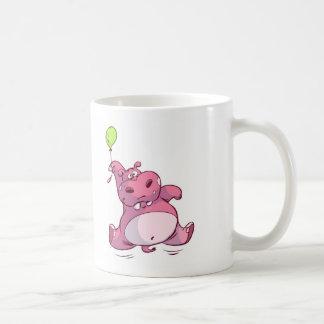 CUTE PINK HIPPO ON BALLOON CLASSIC WHITE COFFEE MUG