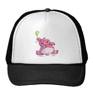 CUTE PINK HIPPO ON BALLOON TRUCKER HAT