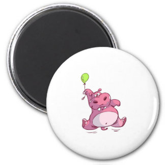 CUTE PINK HIPPO ON BALLOON REFRIGERATOR MAGNET