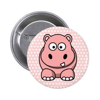 Cute Pink Hippo Pinback Button