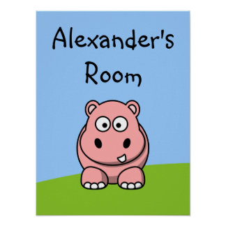 Cute Pink Hippo Poster
