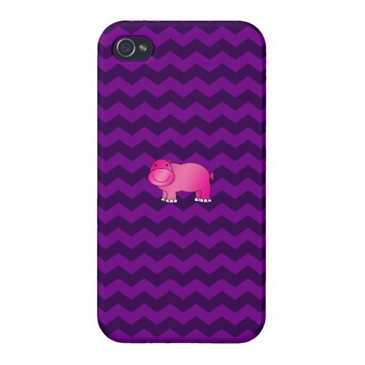 Cute pink hippo purple chevrons cases for iPhone 4