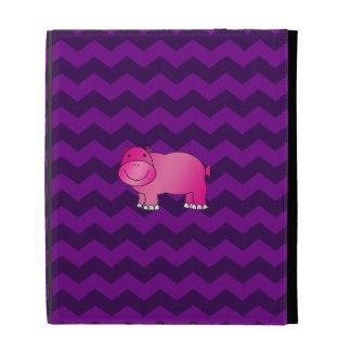Cute pink hippo purple chevrons iPad folio covers
