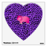Cute pink hippo purple leopard pattern wall skins