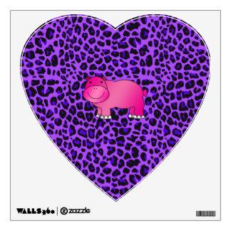 Cute pink hippo purple leopard pattern wall sticker