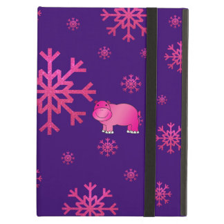 Cute pink hippo purple pink snowflakes iPad air cover
