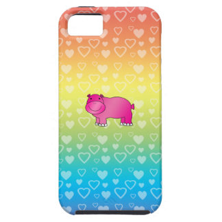 Cute pink hippo rainbow hearts iPhone SE/5/5s case