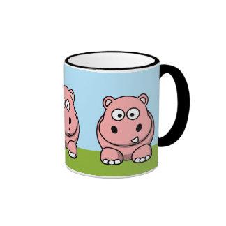 Cute Pink Hippo Ringer Coffee Mug