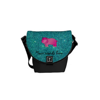 Cute pink hippo turquoise glitter courier bag