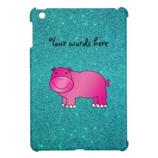 Cute pink hippo turquoise glitter iPad mini case