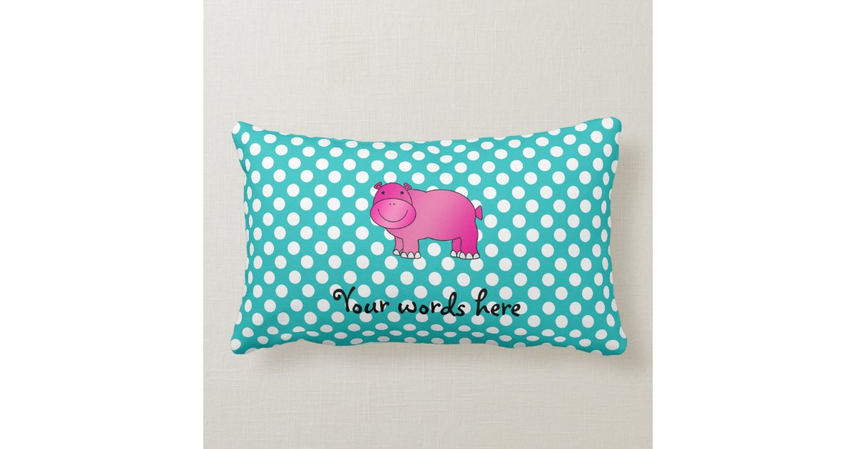 Cute pink hippo turquoise polka dots lumbar pillow Zazzle