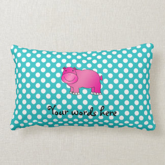 Cute pink hippo turquoise polka dots throw pillow