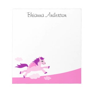 Cute pink horse with wings personalized name note pads
